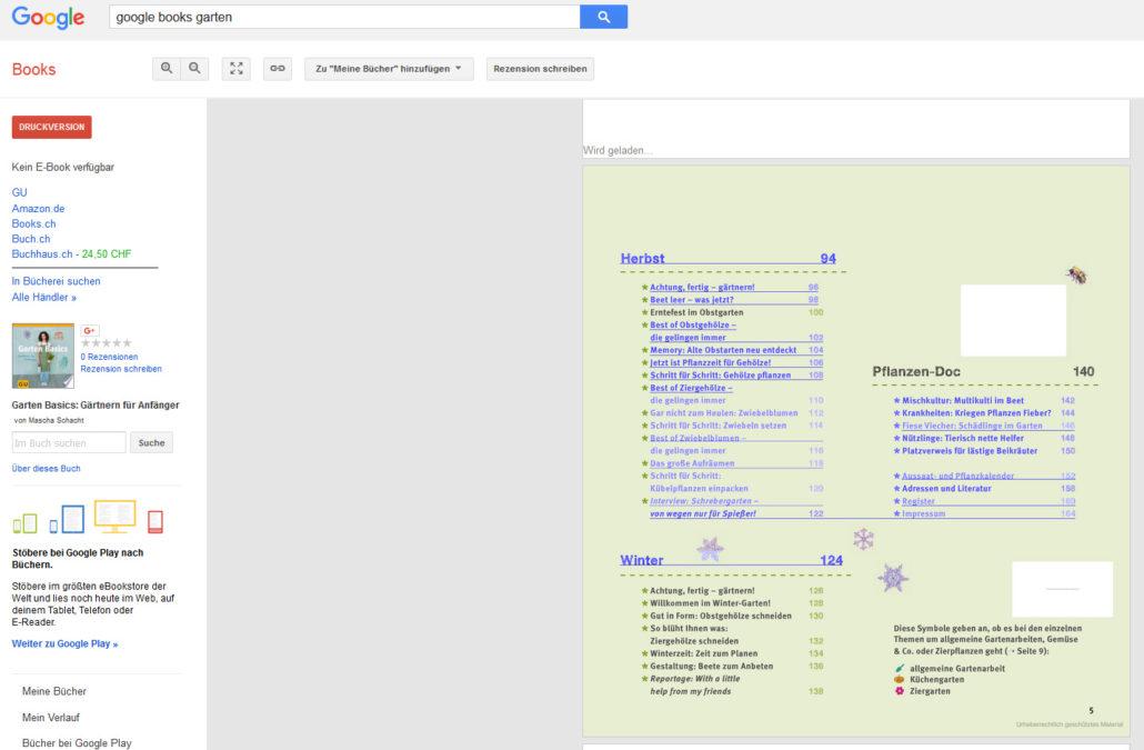 Beispiel aus Google Books - Einblick in Gartenbücher