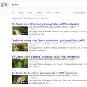 Beispiel Gartenvideos aus der Google Suche