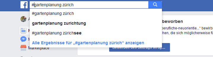Hashtag-Suche Gartenbau Zürich auf Facebook