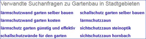 Suchanfragen bei Google zu Gartenbau in Stadtgebieten